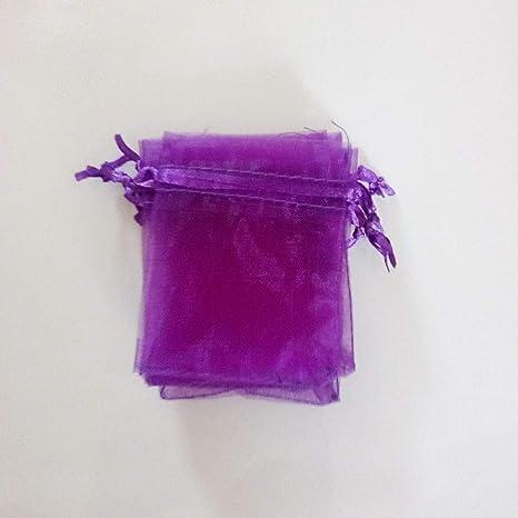 Laliva 100 bolsas de regalo de organza color morado oscuro y ...