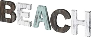 MyGift Multi-Colored Rustic Solid Wood Beach Decorative Cutout Word Sign