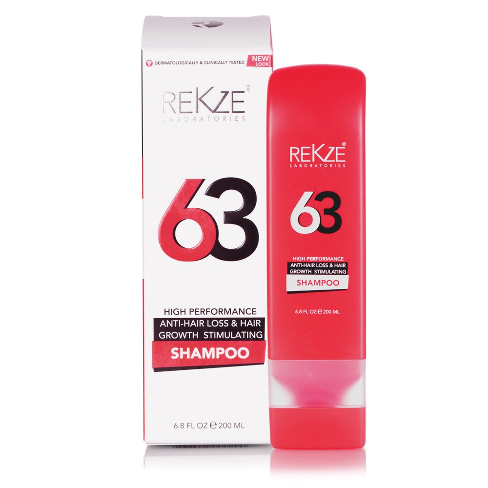 Rekze 63 Hair Growth Shampoo & Anti-Hair Loss Clinically Proven For Men & Women, For Thinning Hair, Thickening & ReGrowth, Strong DHT Blocker Product With Biotin, Emu Oil, Zinc, Caffeine by Rekze (Image #1)