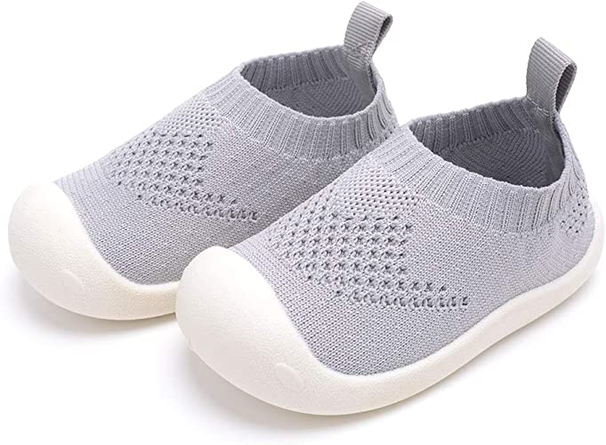 Baby First-Walking Shoes 1-4 Years Kid Shoes Trainers Toddler Infant Boys Girls Soft Sole Non Slip Cotton Canvas Mesh Breathable Lightweight Slip-on Sneakers Outdoor