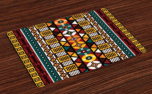 Ambesonne Kente Pattern Place Mats Set of 4, Vertical for sale  Delivered anywhere in USA