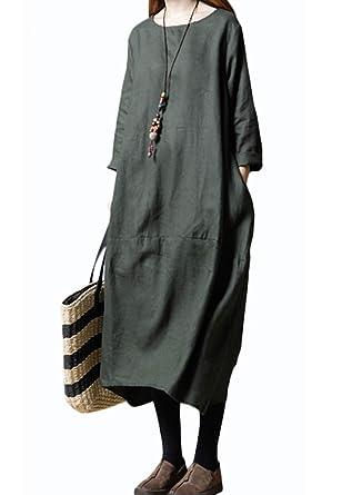 59e41f4e3aef1 イノ)Yino ロングワンピース レディース ワンピース チュニック マキシ丈 トップス 大きいサイズ ゆったり 長袖