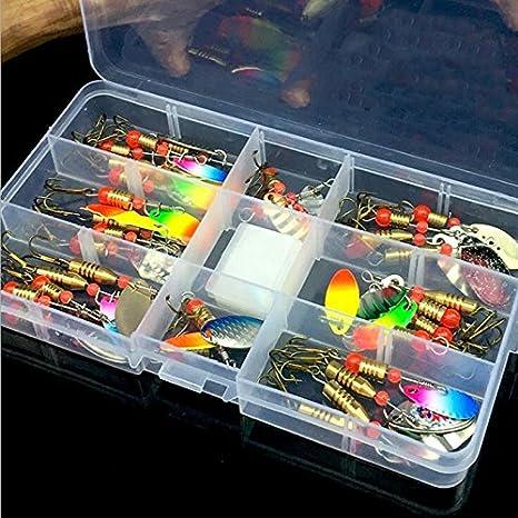 Varios señuelos de pesca cebos pesca Bass cebos Spinner de metal con Sharp pesca aborda caja accesorios (30 unidades): Amazon.es: Deportes y aire libre