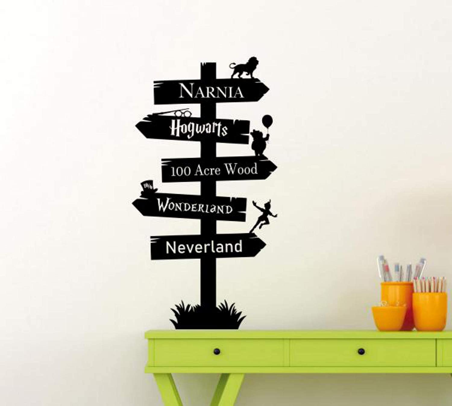Road Sign Wall Decal Way Pointer Narnia Hogwarts 100 Acre Wood Pooh Wonderland Neverland Wall Decor Movie Cinema Vinyl Sticker Quote Gift Decor Room Art Stencil Decor Mural Removable Poster 1138