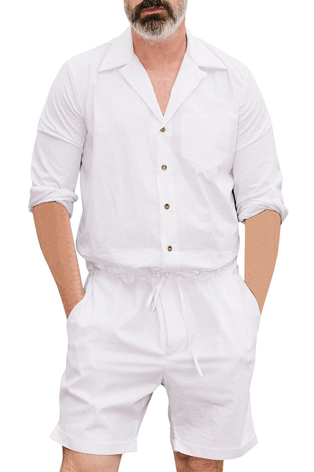 Nansiche Men's Short One Piece Jumpsuits Short Sleeve Casual One Piece