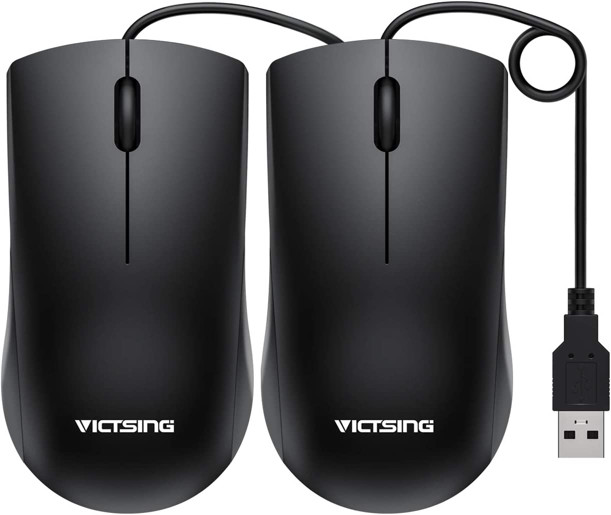 VicTsing Computer Mouse 2 Pack, 【2020 Classic】 USB Mouse Optical Wired Mouse with 25% Higher Efficiency for Office Work, Compatible with Computer Laptop, PC, Desktop, Windows 7/8/10/XP, Vista and Mac