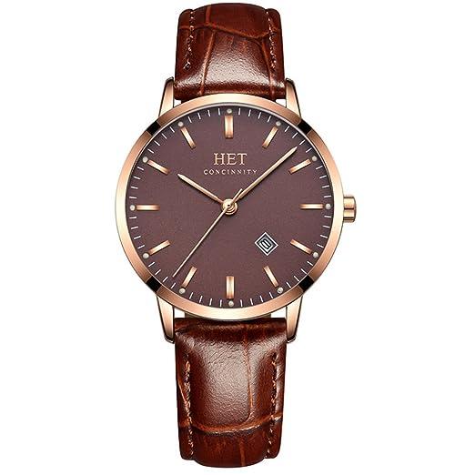 Reloj del negocio ultra fina de acero inoxidable de hombres o de mujeres,Parejas cuarzo Impermeable Botón grande Clásico Moda Reloj de pulsera de cuero-I: ...
