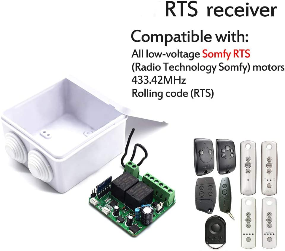 24V AC DC KASER R/écepteur RTS Universel 433,42 MHz compatible pour R/écepteur Somfy RTS pour Volet Roulant Portail Automatique Lumi/ères Relais /à 2 Canaux 12