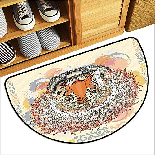 (Axbkl Waterproof Door mat Tribal African Safari Tiger Portrait with Native American Chef Feathers Bohemian Design with Anti-Slip Support W30 xL18 Orange Peach)