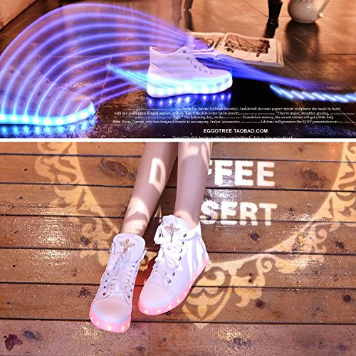 Lovers Charge High Women White Gaorui LED Top Sneaker Luminous Athletic Light New USB Shoes H1W7RWcq8