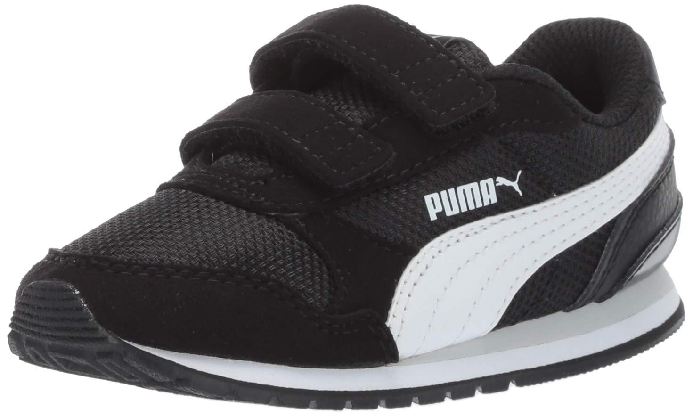 PUMA Unisex Kid's ST Runner Velcro Sneaker, Black-White-grayviolet, 12.5 M US Little Kid