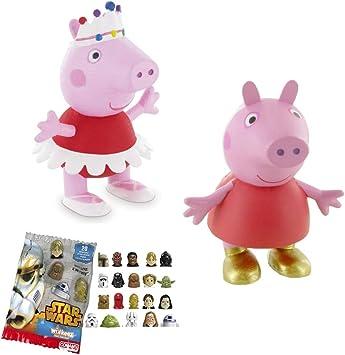 Lote 2 Figuras Comansi Peppa Pig - Peppa Bailarina - Peppa Botas de Oro + Regalo: Amazon.es: Juguetes y juegos