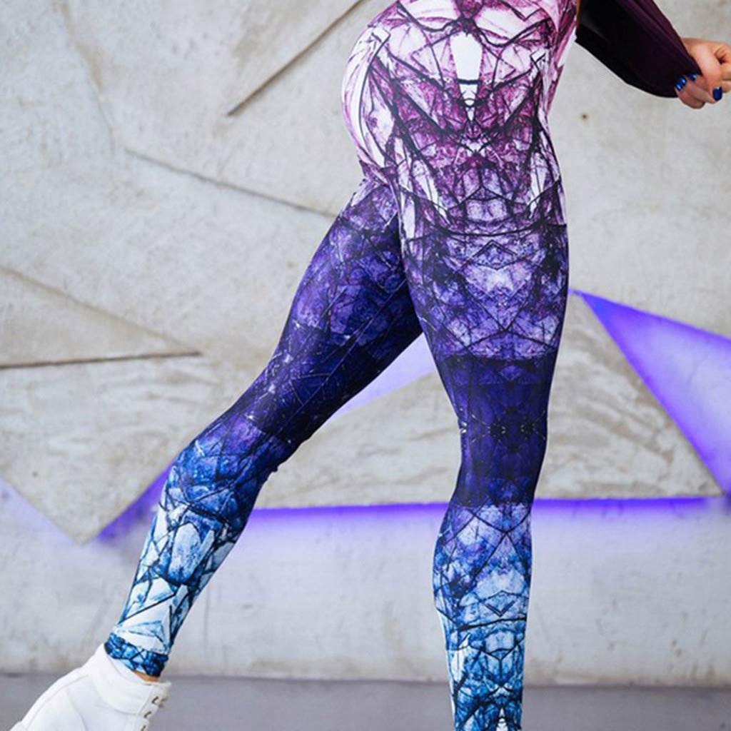 SALUCIA Damen Bunt Leggings High Waist Leggins Fitness Hose Push Up Workout Yoga Sport Fitnesshose Stretch Tights Laufhose mit Digital Muster