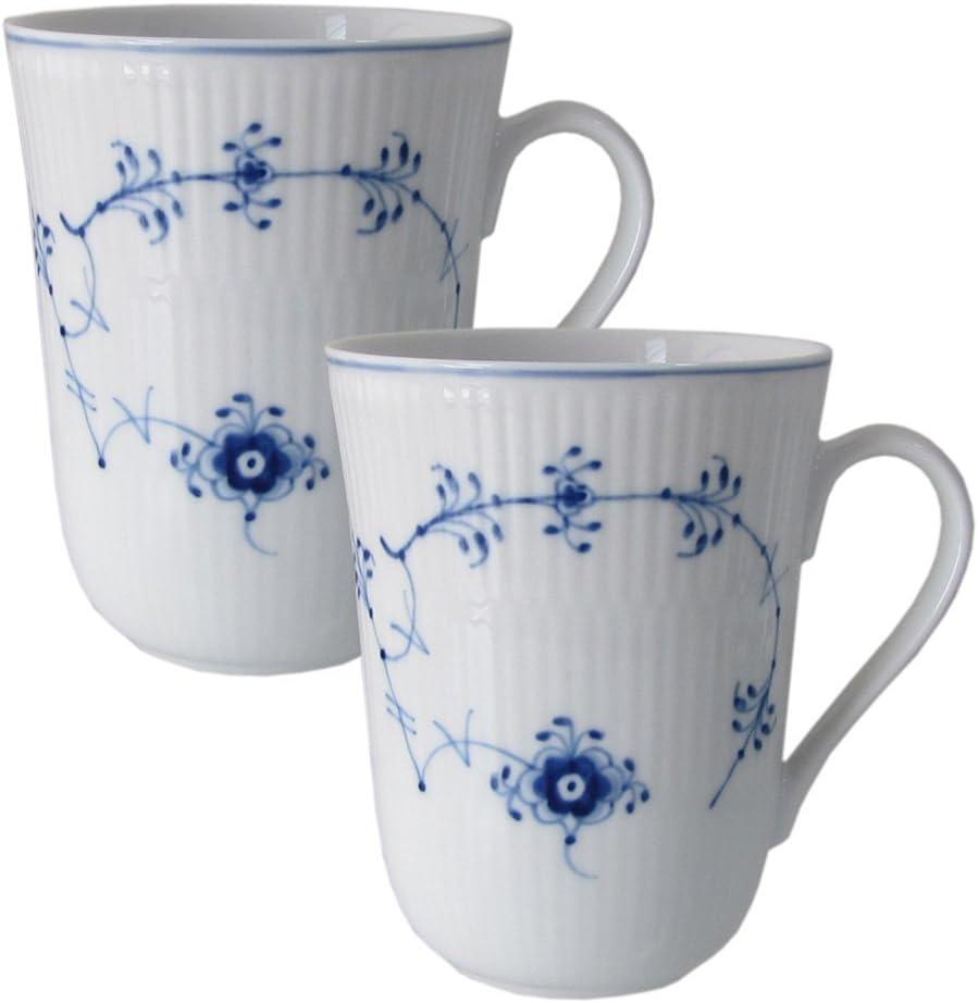 NEU!!!! ROYAL COPENHAGEN Weiß Gerippt Set mit 2 Kaffeebecher  33cl