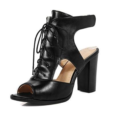 SJJH Damen Mode Gladiator Sandalen mit Stiletto Absatz Peep