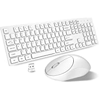 RATEL Wireless Keyboard Mouse Combo, 2.4GHz Slim Full-Sized Silent Wireless Keyboard and Mouse Combo with USB Nano Receiver for Laptop, PC (Light Cream White)