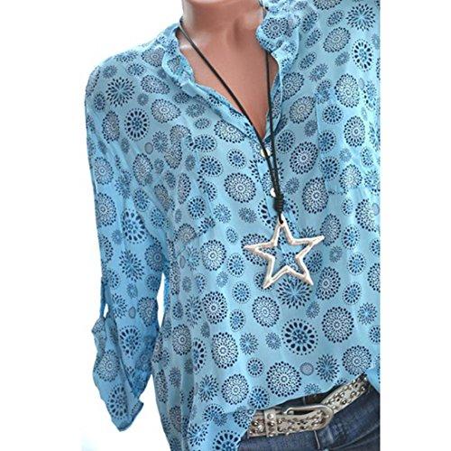 Imprimer Chemise Bleu Pois Chemise Hauts Button Chemisier Plus Longues Femmes Manches Bringbring Size pdtqx7Ppw