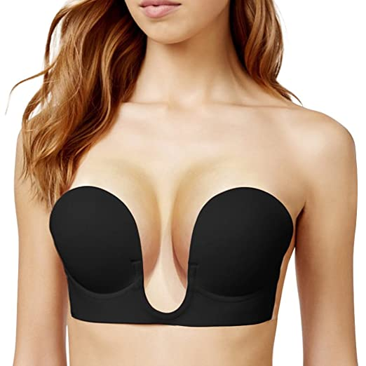 5445f04807 Mannice Self Adhesive Push Up Bra Reusable Strapless Silicone Invisible  Sexy Cup A Black