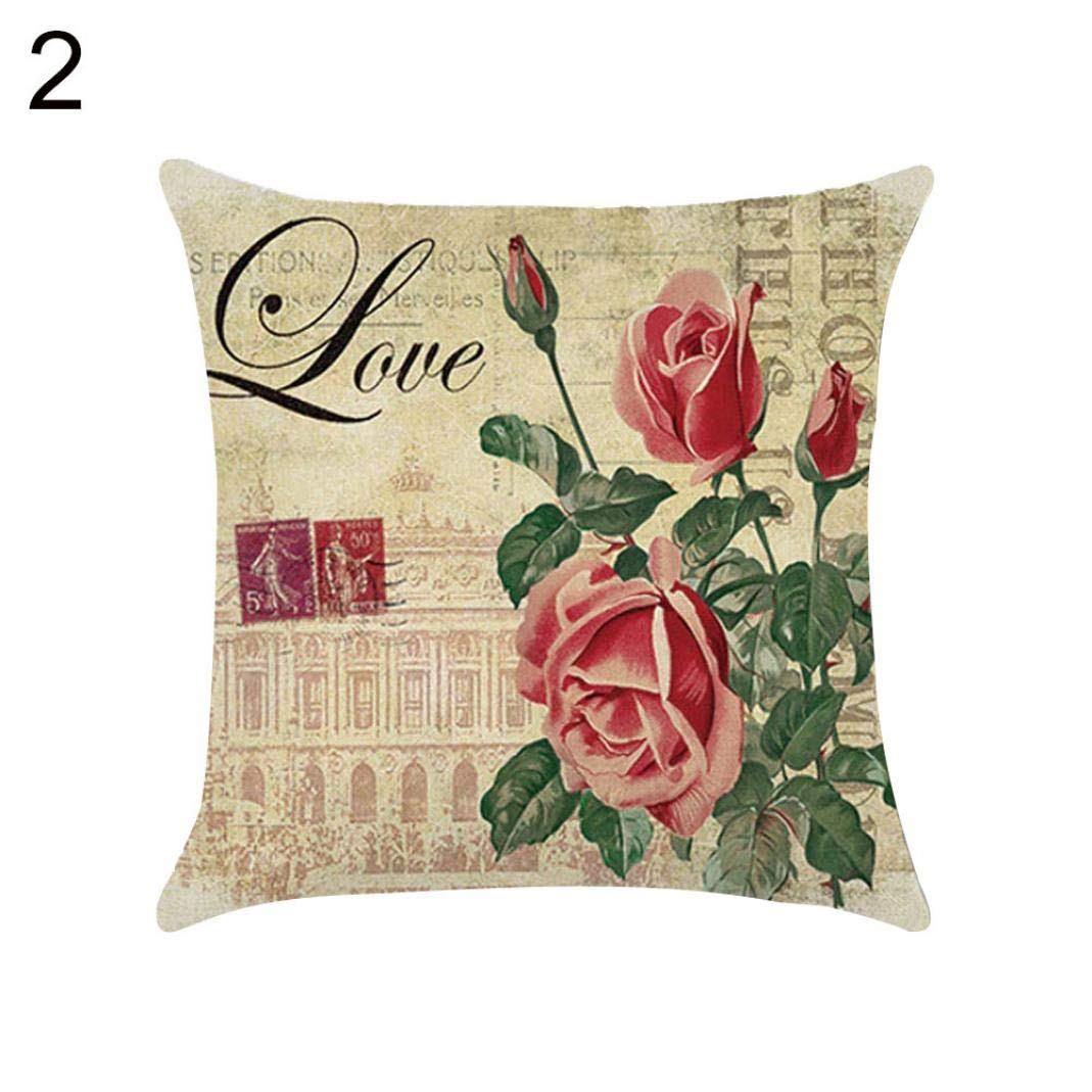 Sofa Throw Cushion Cover Square Pillowcase Fashion Home Decorative Pillowcase,45x45cm Soft Linen Pillow Case-Vintage Flower//Peacock//Feather Printed Pillow Protectors Covers Easy to WASH