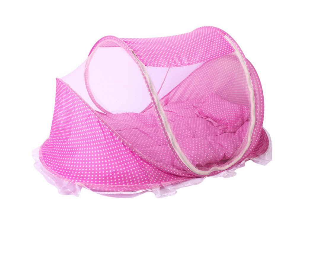 Gouerping Baby Folding Mosquito Net with Sleeping Pad Pillow - Pink