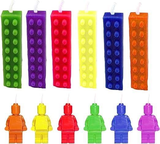 Amazon.com: 12 pieza Edificio Brix Birthday Bash velas ...
