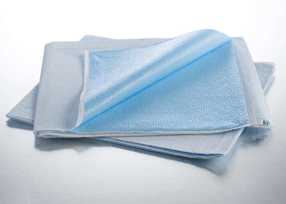 Graham Medical 323 Flat Sheet, Tissue/Poly, 40'' Width, 90'' Length, White/Blue (Pack of 50)