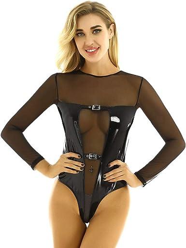 Alvivi Womens Mesh See Through Turtle Neck Leotard Bodysuit Clubwear Long Sleeves Tops