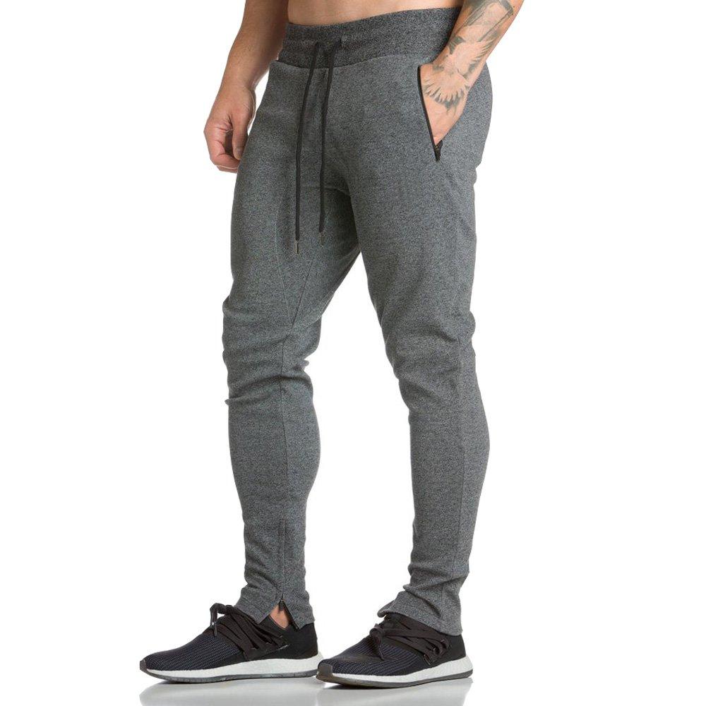 EVERWORTH Men's Workout Running Sweatpants Jogger Pants Casual Fleeced Zipper Pockets