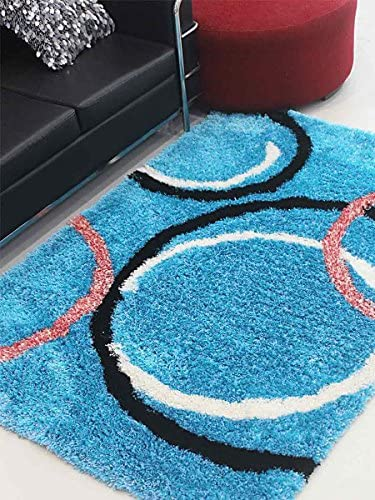 Rugsotic Carpets Hand Tufted Shag Polyester 5 x8 Area Rug Geometric Turquoise K00021