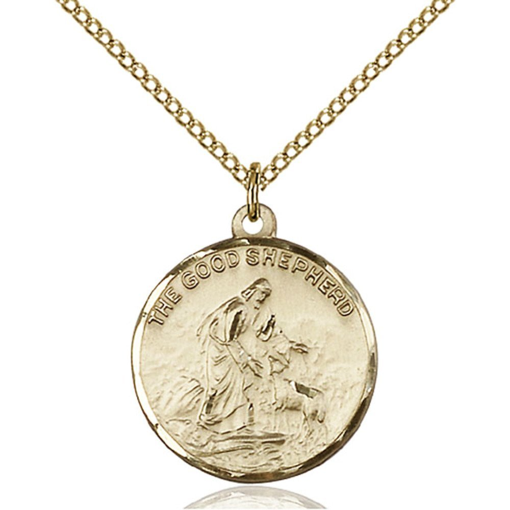 Gold Filled Women's GOOD SHEPHERD Pendant - Includes 18 Inch Light Curb Chain - Deluxe Gift Box Included