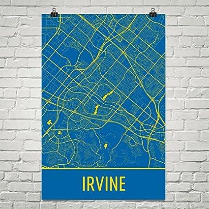 Where Is Irvine California On California Map.Amazon Com Modern Map Art Irvine Poster Irvine Art Print Irvine