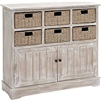 Deco 79 96296 Wood 6 Basket Dresser, 38 x 35