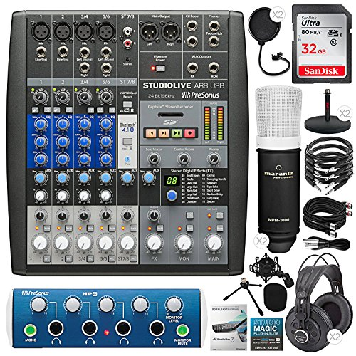 (PreSonus StudioLive AR8 USB 8-Channel Hybrid Performance and Recording Mixer with ProSonus HP4 4-Channel Headphone Amplifier, 32GB Card, 2X Condenser Microphones, Premium Podcasting Kit)