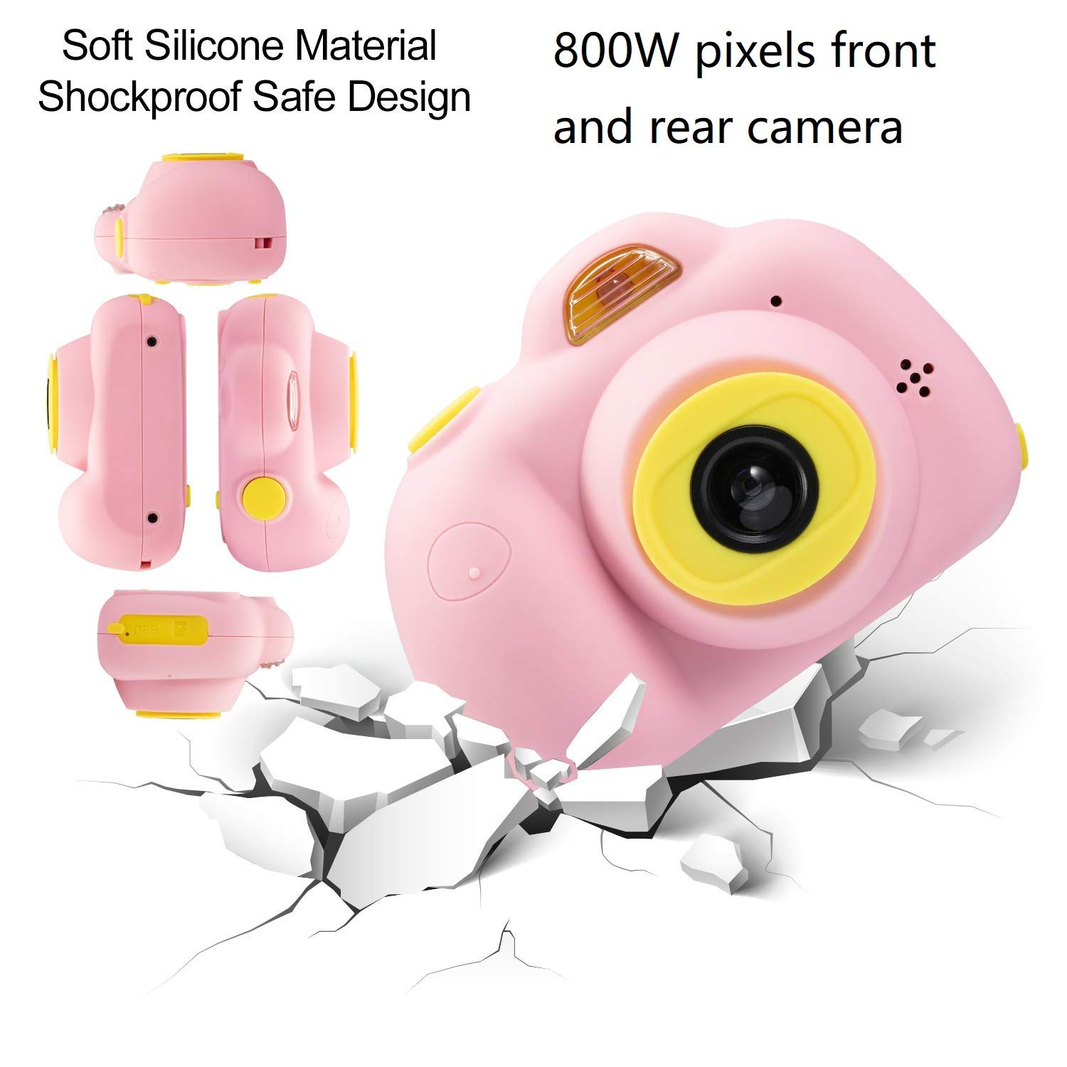DIIGIITO Kids Camera Gifts for 4-8 Year Old Girls, Shockproof Cameras Great Gift Mini Child Camcorder for Little Girl with Soft Silicone Shell for Outdoor Play,(16GB Memory Card Included) (Pink) by DIIGIITO (Image #2)