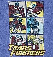 TruffleShuffle Mens Transformers Optimus Prime Comic Blue MARL Ringer T Shirt
