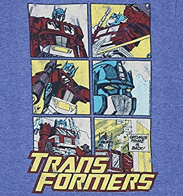 TruffleShuffle Mens Transformers Optimus Prime Comic Blue MARL Ringer T Shirt