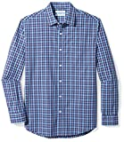 Amazon Essentials Men's Regular-Fit Long-Sleeve Plaid Shirt, Navy Plaid, Small
