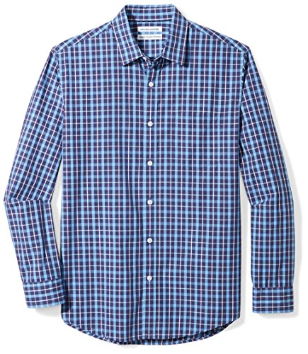 Amazon Essentials Men's Regular-Fit Long-Sleeve Casual Poplin Shirt, navy plaid, Large