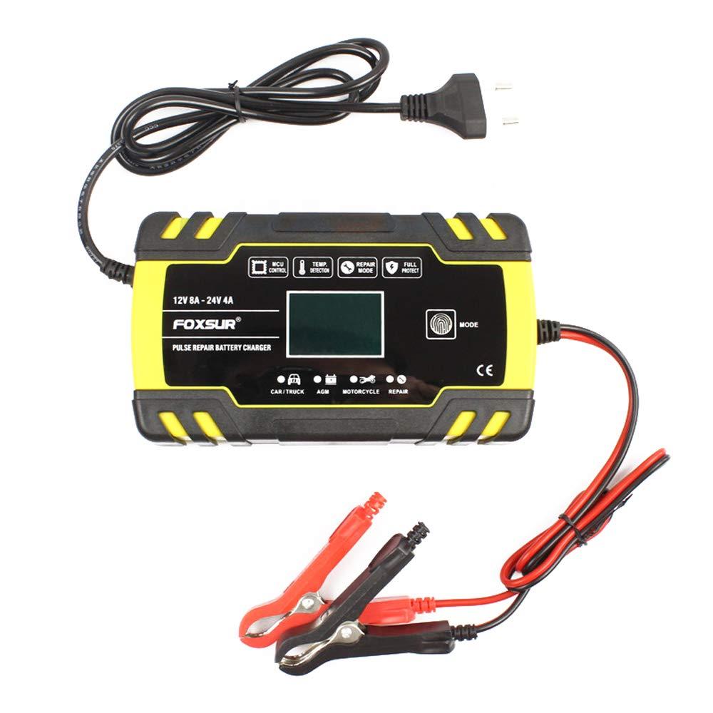 ATVs Barco Cargador de Bater/ía Coche Autom/ático Inteligente con Pantalla LCD y Protecciones para Autom/óviles RVs KKmoon Cargador de Bater/ía 12V 24V Motos