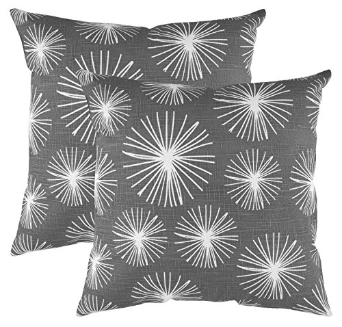 TreeWool Decorative Square Throw Pillow Covers Set Starburst Accent 100% Cotton Linen Cushion Cases Pillowcases (18 x 18 Inches / 45 x 45 cm; Graphite Grey in Cream Background) - Pack of 2
