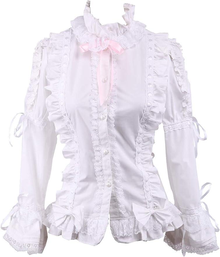 an*tai*na* Blanca Algodón Encaje Volantes Bows Kawaii Victoriana Lolita Camisa Blusa de Mujer: Amazon.es: Ropa y accesorios