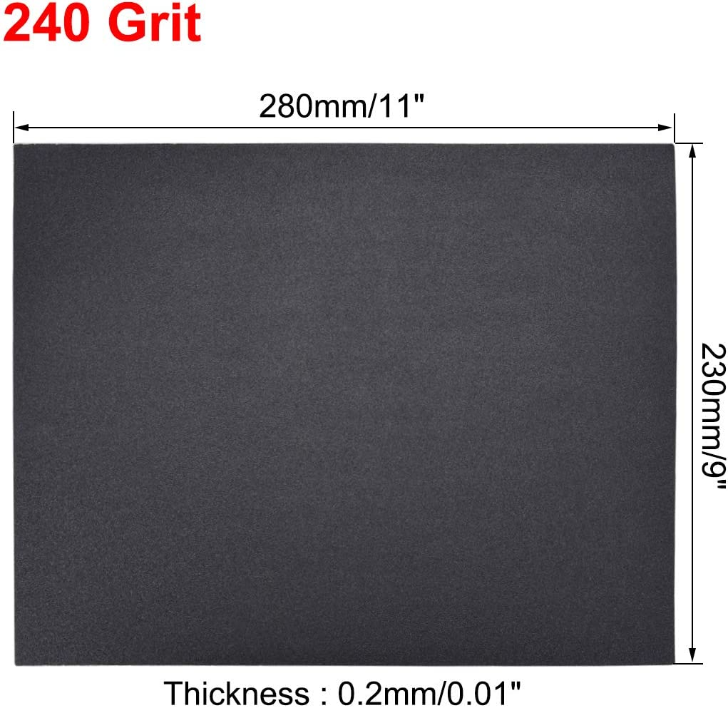 uxcell 500 Grits Sanding Sheets 9-inch x 11-inch Wet Dry Silicon Carbide Sandpaper for Wood Furniture Metal Automotive Polishing 5pcs