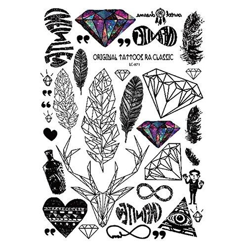 RoseSummer 1Pcs Body Art temporary Tattoo Stickers for Men Woman