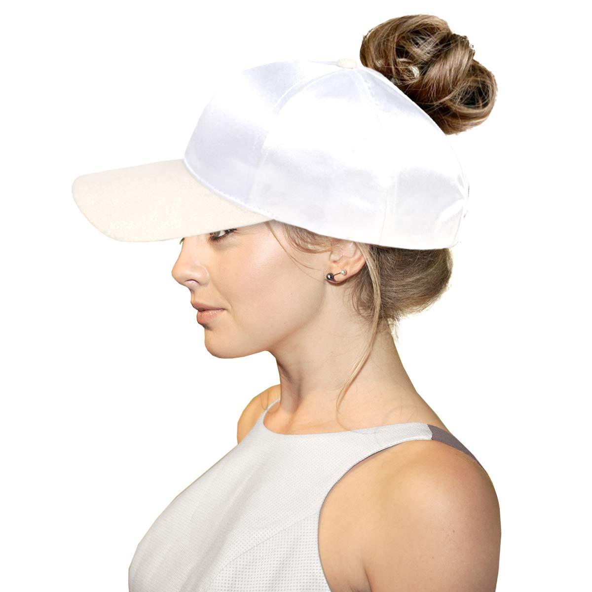 FADA Glitter Ponycap Messy High Bun Ponytail Baseball Cap Trucker Hat for Women