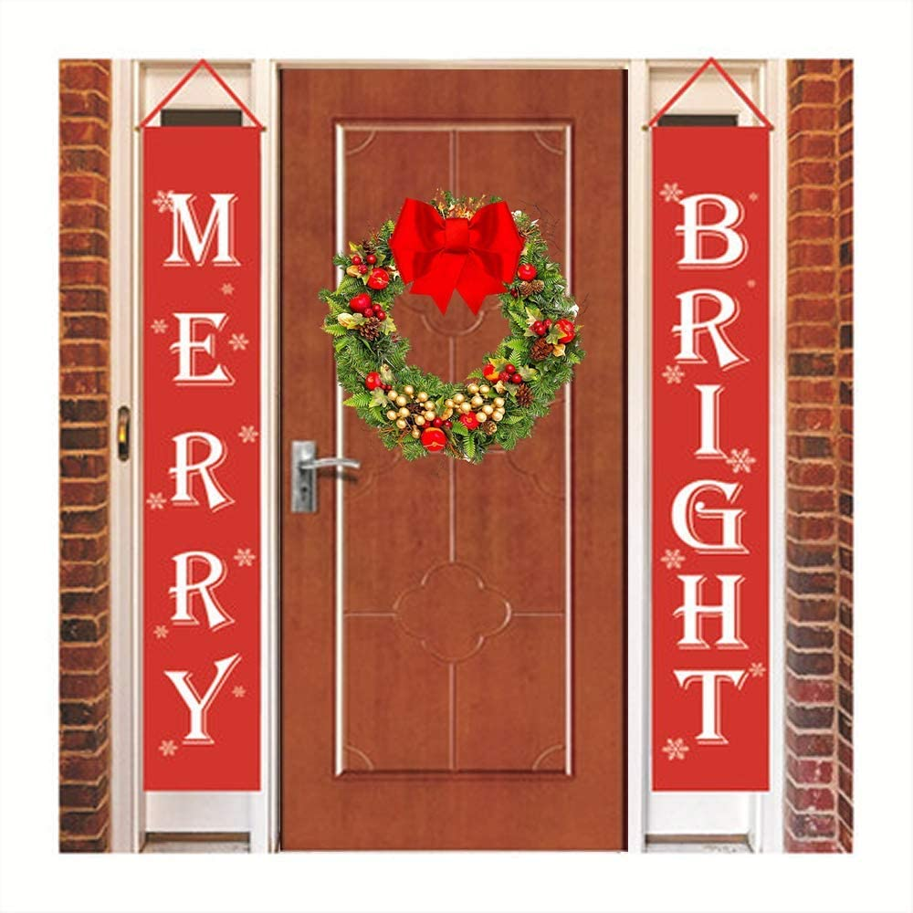 Merry Bright Happy Holidays Christmas Porch Sign, New Year Decorations Outdoor Indoor, Red Xmas Decor Banners for Home Wall, Garage, Door, Fireplace, Apartment Party.