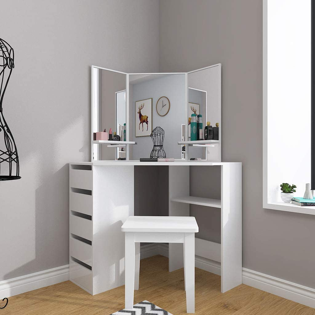 Fashion Dressing Table Storage Cabinet for Bedroom Bathroom MRktkr Modern Corner Vanity Table Set Makeup Desk with 3-Fold Mirrors and 5 Drawers for Women Girls