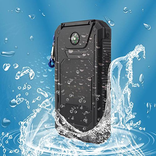 JaneDream Solar Power Bank Charger, 12000mAh Dual USB charging, Dust-proof, IP67 waterproof level, Shock-proof, LED lighting, SOS External Battery Charger For Phones ,Black