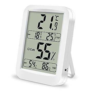 Termómetro Higrometro Digital, Laufen Interior Termohigrómetro Gran LCD Profesional Temperatura y Humedad Medidor Min/Max Registros Indicadores de Confort ...
