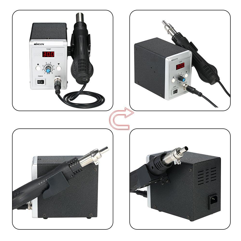 KKmoon Estación de soldadura,alta calidad 858D 700W,LED digital de reanálisis BGA,Pistola de aire caliente + Juego de plancha eléctrica para SMD SMT DIP: ...