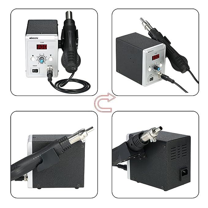 KKmoon Estación de soldadura de alta calidad 858D 700W Estación de soldadura LED digital de reanálisis BGA Pistola de aire caliente + Juego de plancha ...